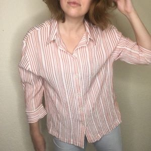 Vintage Button Down Top 90s White Stag Striped L